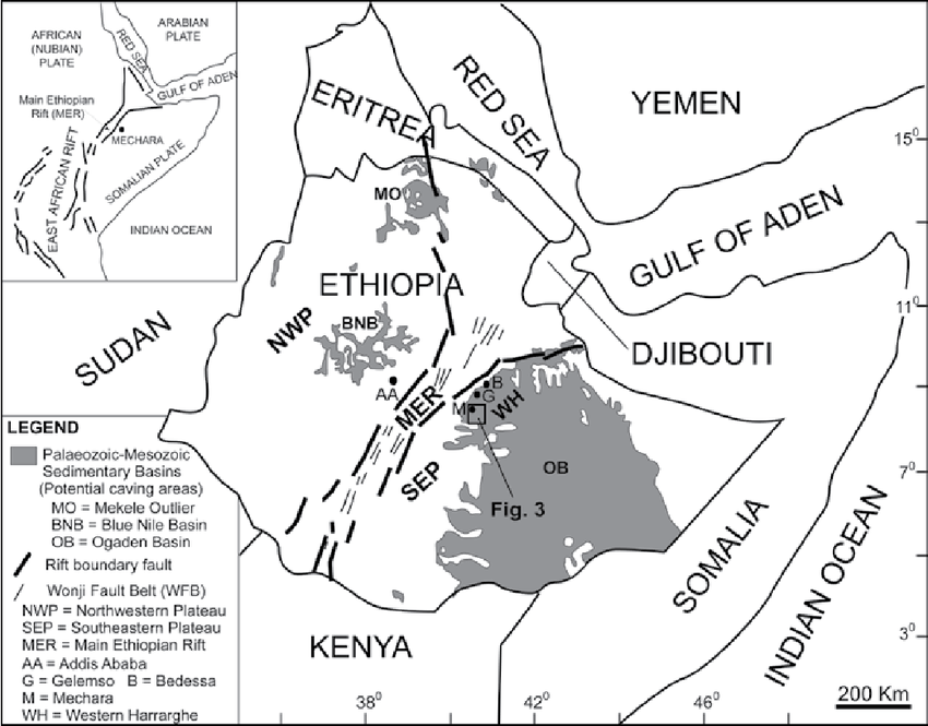 Regional geological and structural setting of Ethiopia