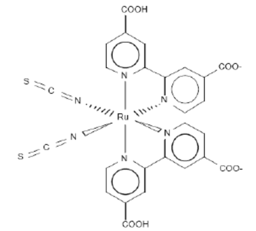 Chemical structure of the N3 ruthenium complex used as a