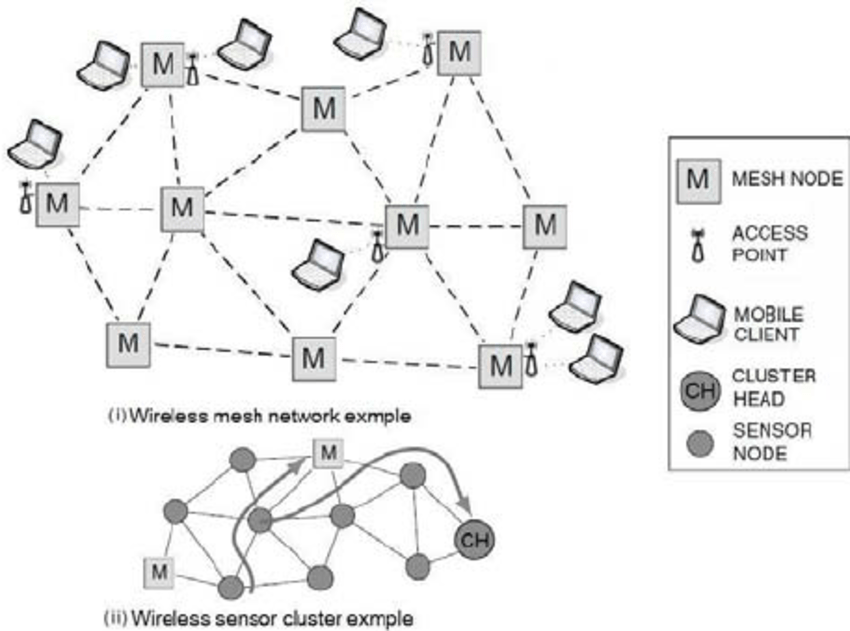 Wireless mesh and sensor network architecture example