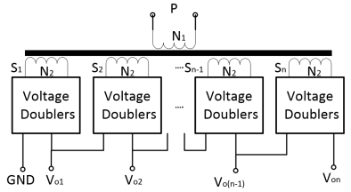 High-voltage multiple-output transformer with voltage