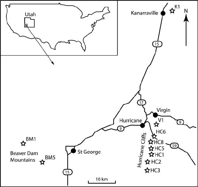 Map of the Hurricane region, Utah, USA showing the