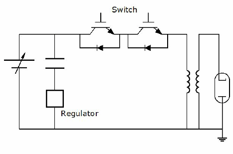 Simplified system diagram. The actual switch is made with