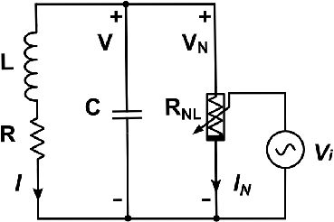 Simplified circuit diagram of the CMOS LC oscillator with