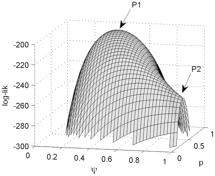 Log-likelihood surface displaying the maximum-likelihood