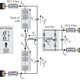 Circuit diagram of DC/DC architecture with intermediate AC