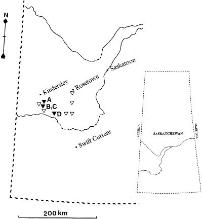 Map of west-central Saskatchewan showing sites at which dead deer ...