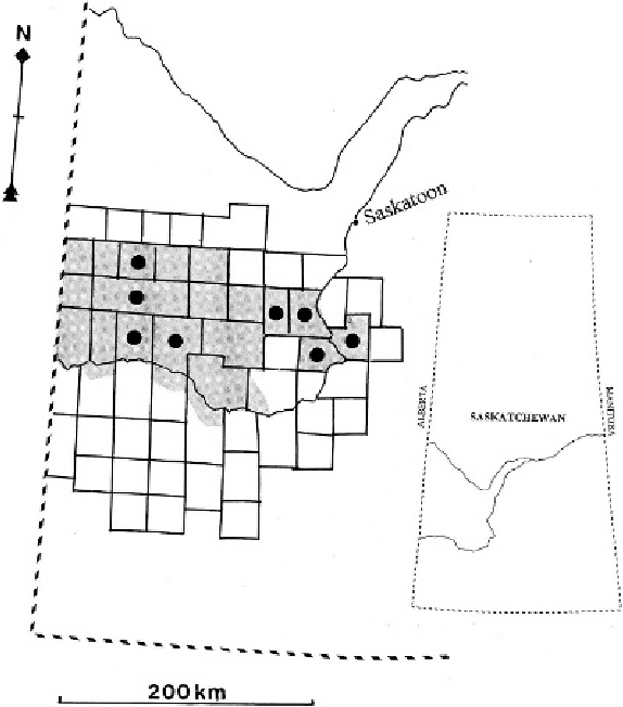 Map of west-central Saskatchewan showing the borders of the rural ...