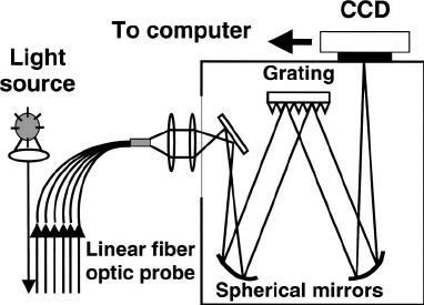 Schematic diagram of a broadband reflectance spectrometer