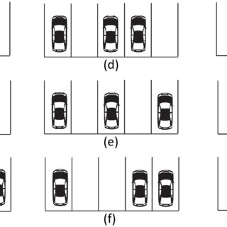 Generic car parking scenario for 12 spaces with tendency