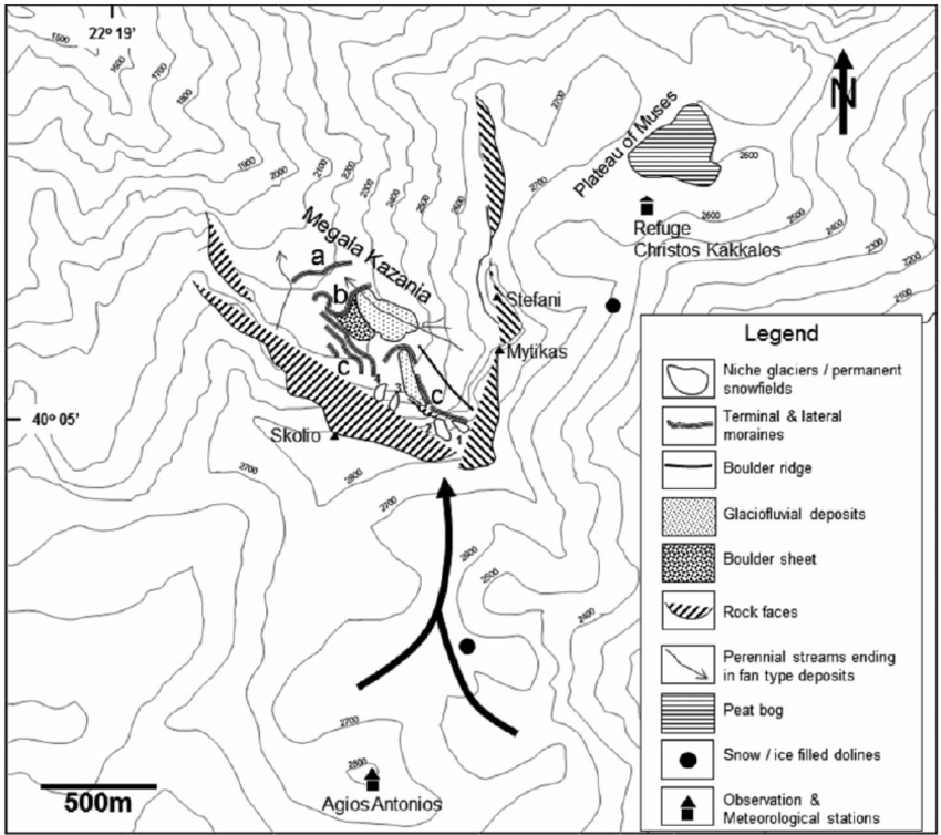 Geomorphological features of the study area. Megala