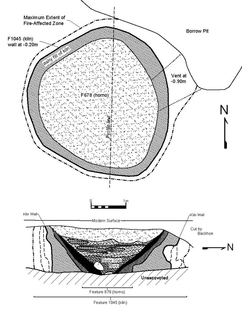 Plan and profile of shaft furnace kiln (Feature 1045) at