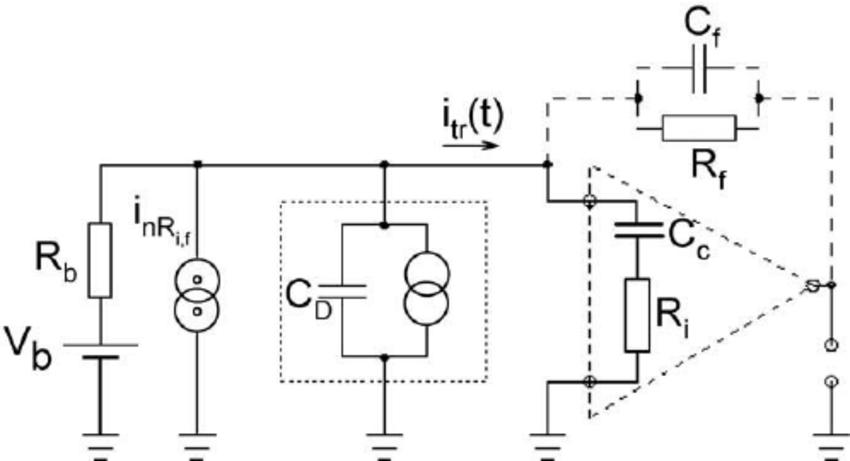 Simpli fi ed equivalent schematics of a diamond sensor