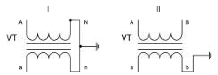 Schematic diagrams of single-phase voltage transformer