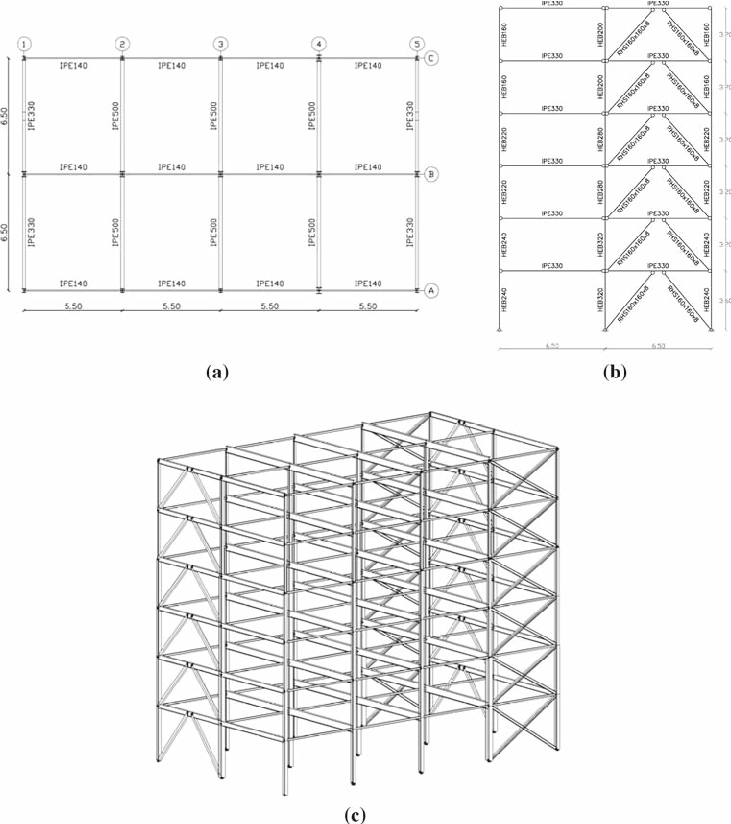 Building geometry: a floor plan, b eccentrically braced