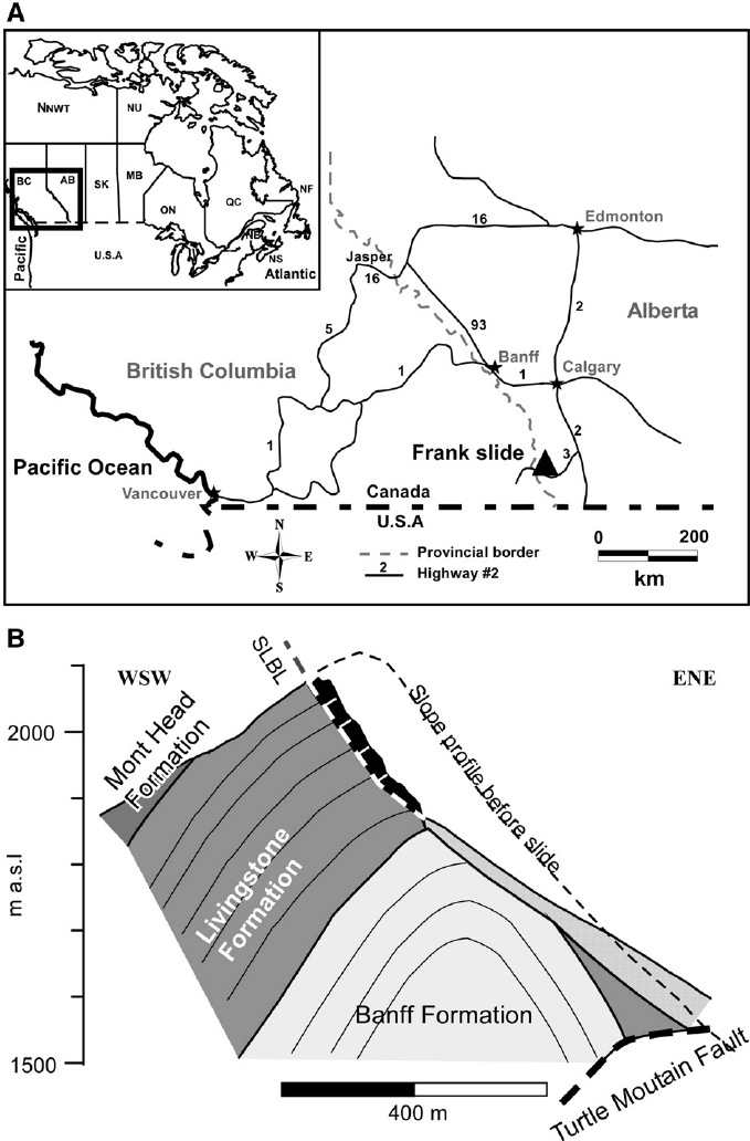 (A) Location map of Frank Slide. (B) Synthetic cross