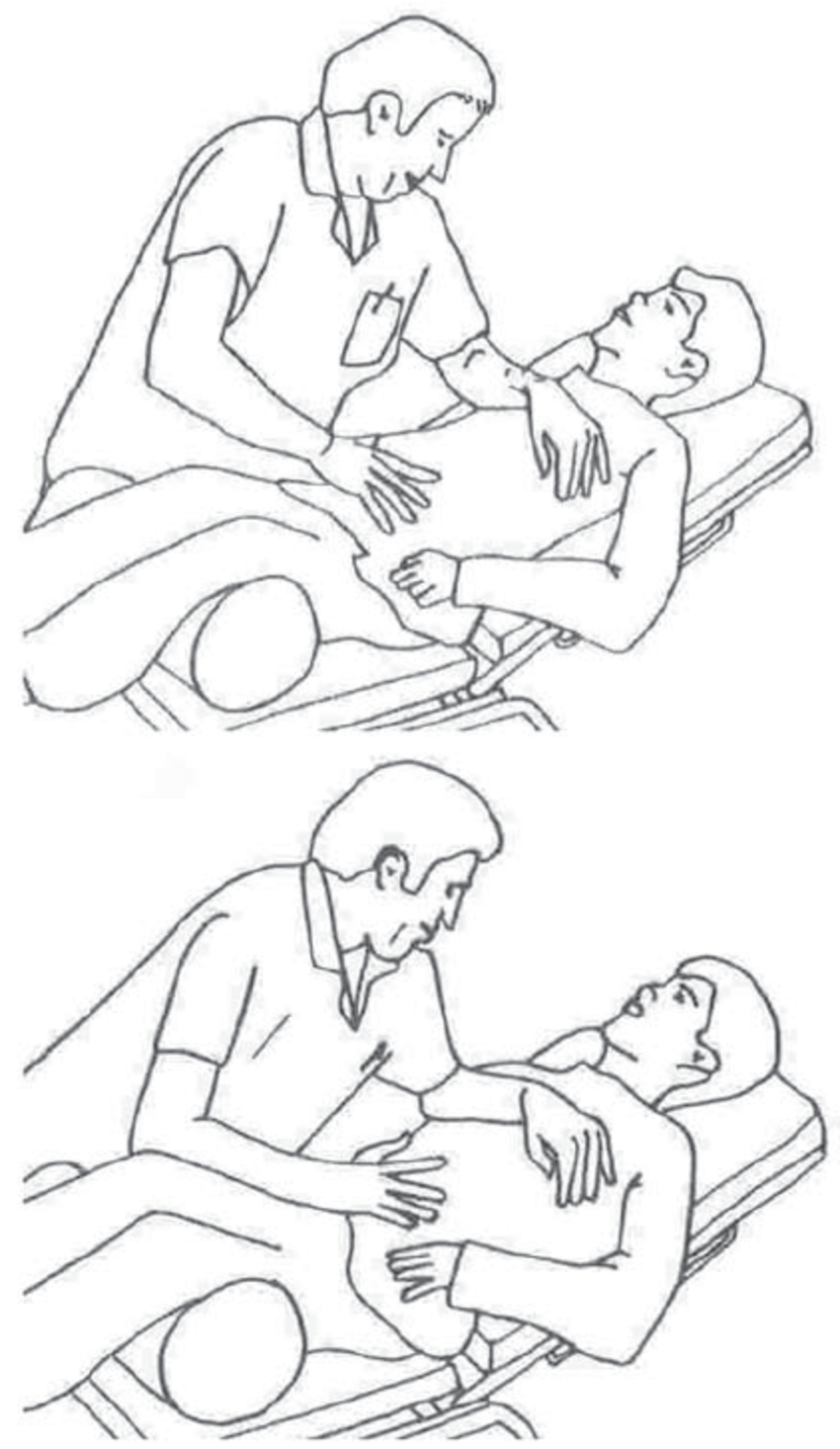 Manually assisted cough via thoracic compression