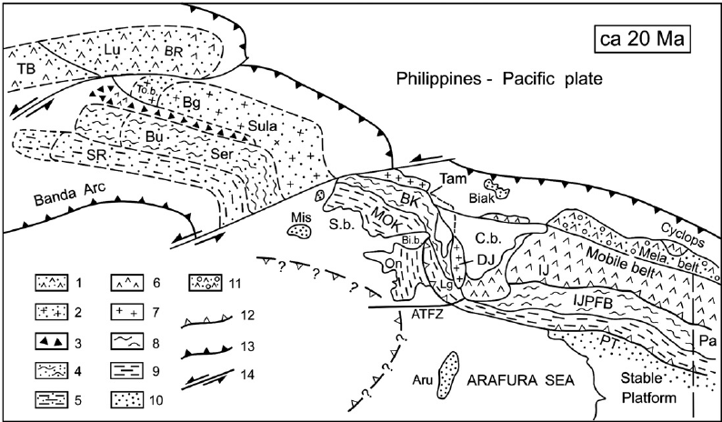 The Irian Jaya block (10) geological sketch map and its