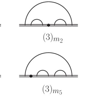 Two-loop diagrams. Solid lines represent fermions, while