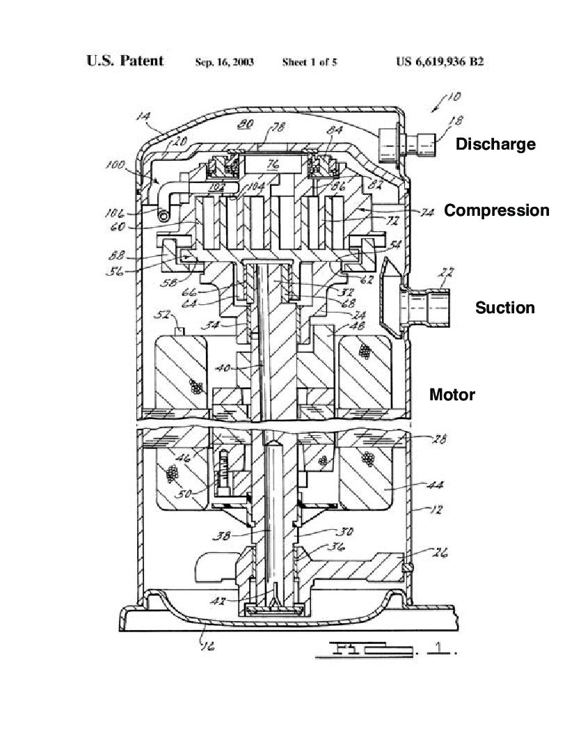 2: Drawing of a hermetic scroll type compressor, Copeland