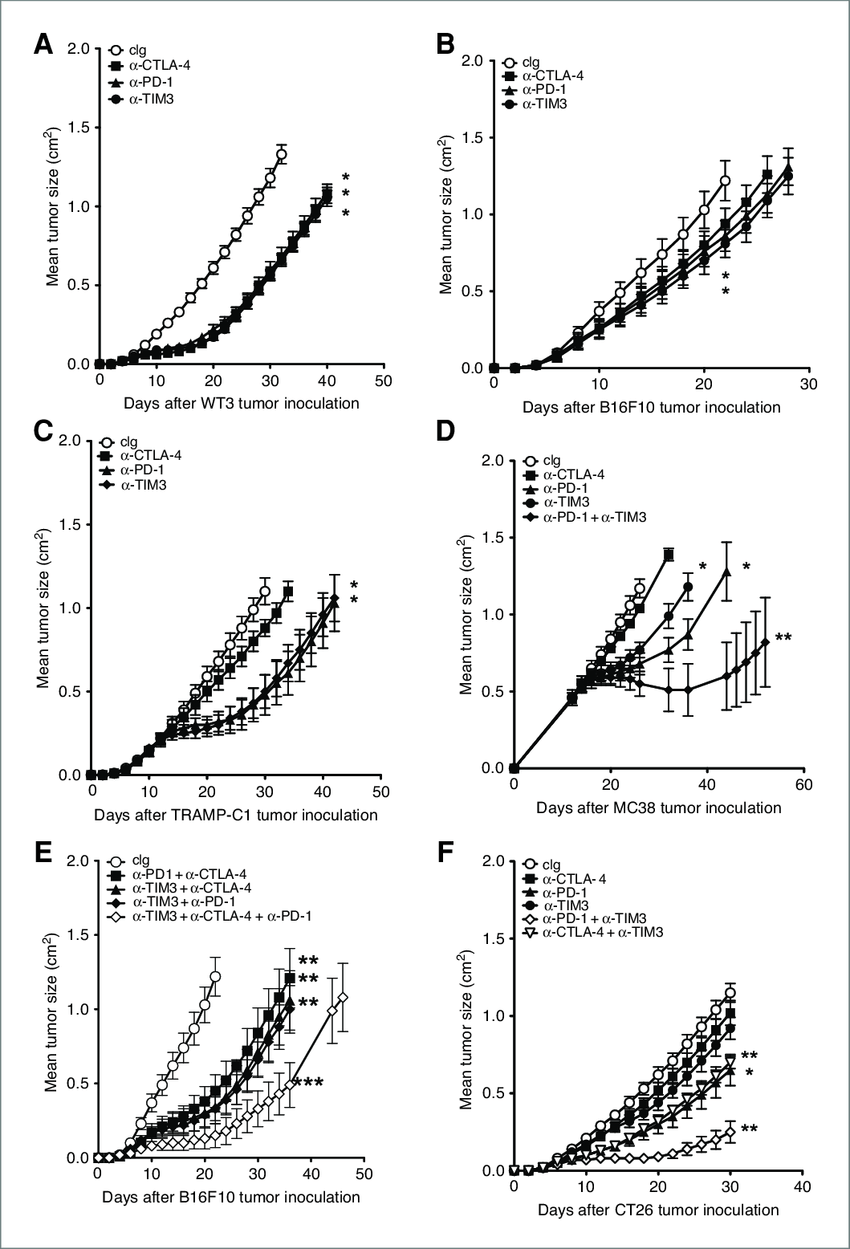 Comparative effect of anti-TIM3 against experimental
