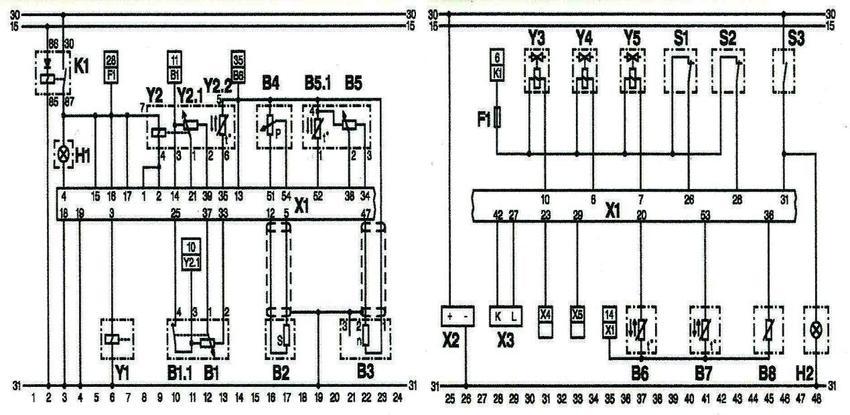Diagram of the EDC wiring system. K1-main transmitter, H1
