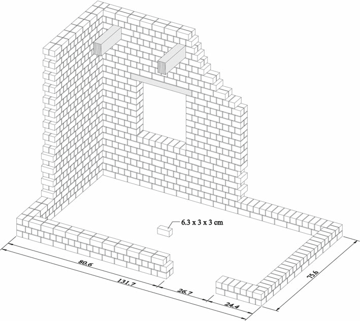 Scheme of laying the bricks and placing the wooden lintels
