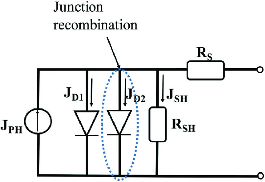 Two-diode model based equivalent circuit of the organic