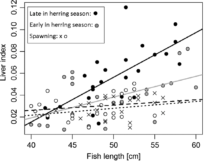 Seasonal patterns of the liver index of cod from Øresund