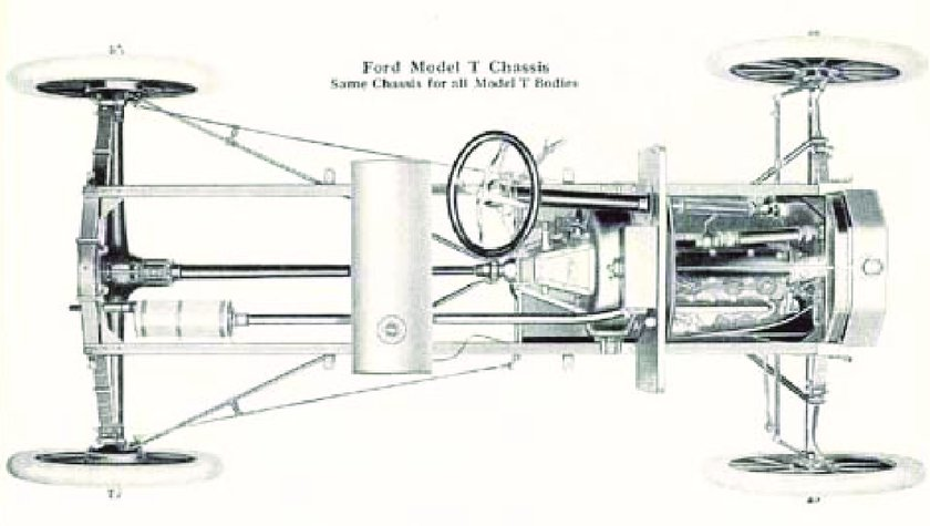 Ford Model T chassis. Classic exhaust configuration with