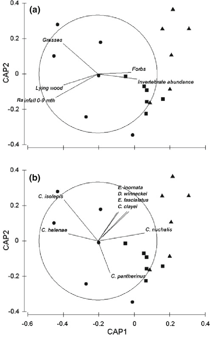 medium resolution of a the effect of habitat and resource variables on lizard assemblage download scientific diagram