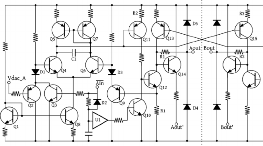 Detailed schematic of one-half of the voltage-controlled