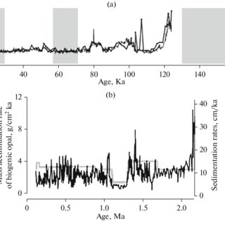 (a) Distribution of biogenic opal (wt %, black line) and