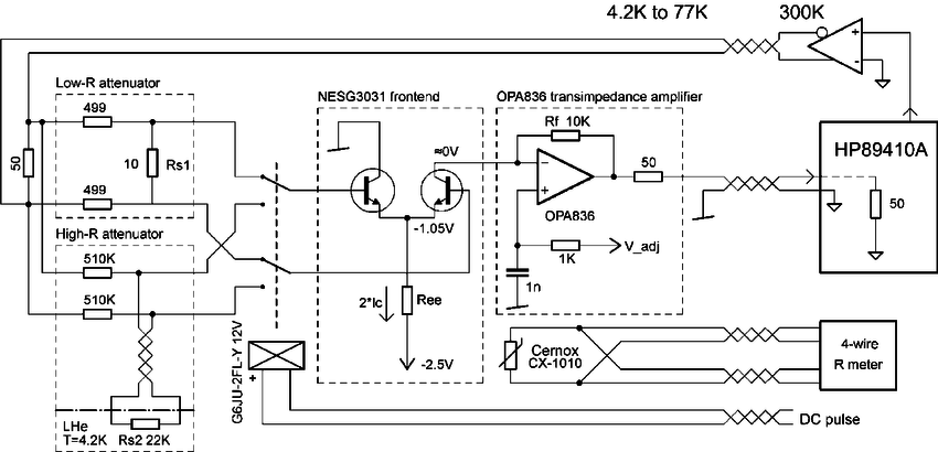 Simplified circuit diagram of the amplifier and test setup