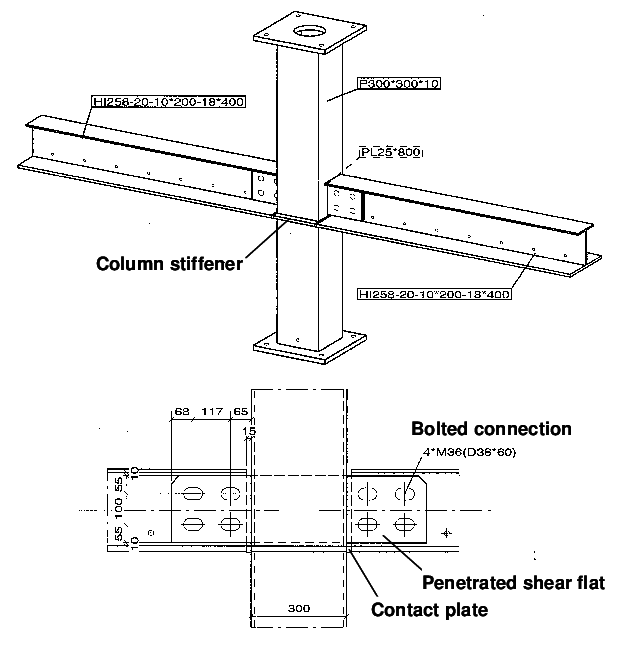 3 Steelwork connection between asymmetric steel beams and