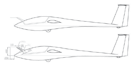 Fuselage drawing of the carrier sailplane TST10a, canopy