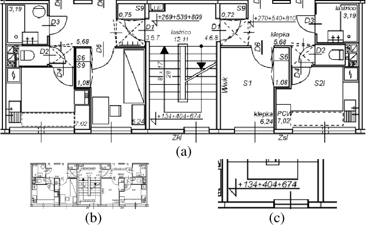 (a) An architectural construction drawing of a building