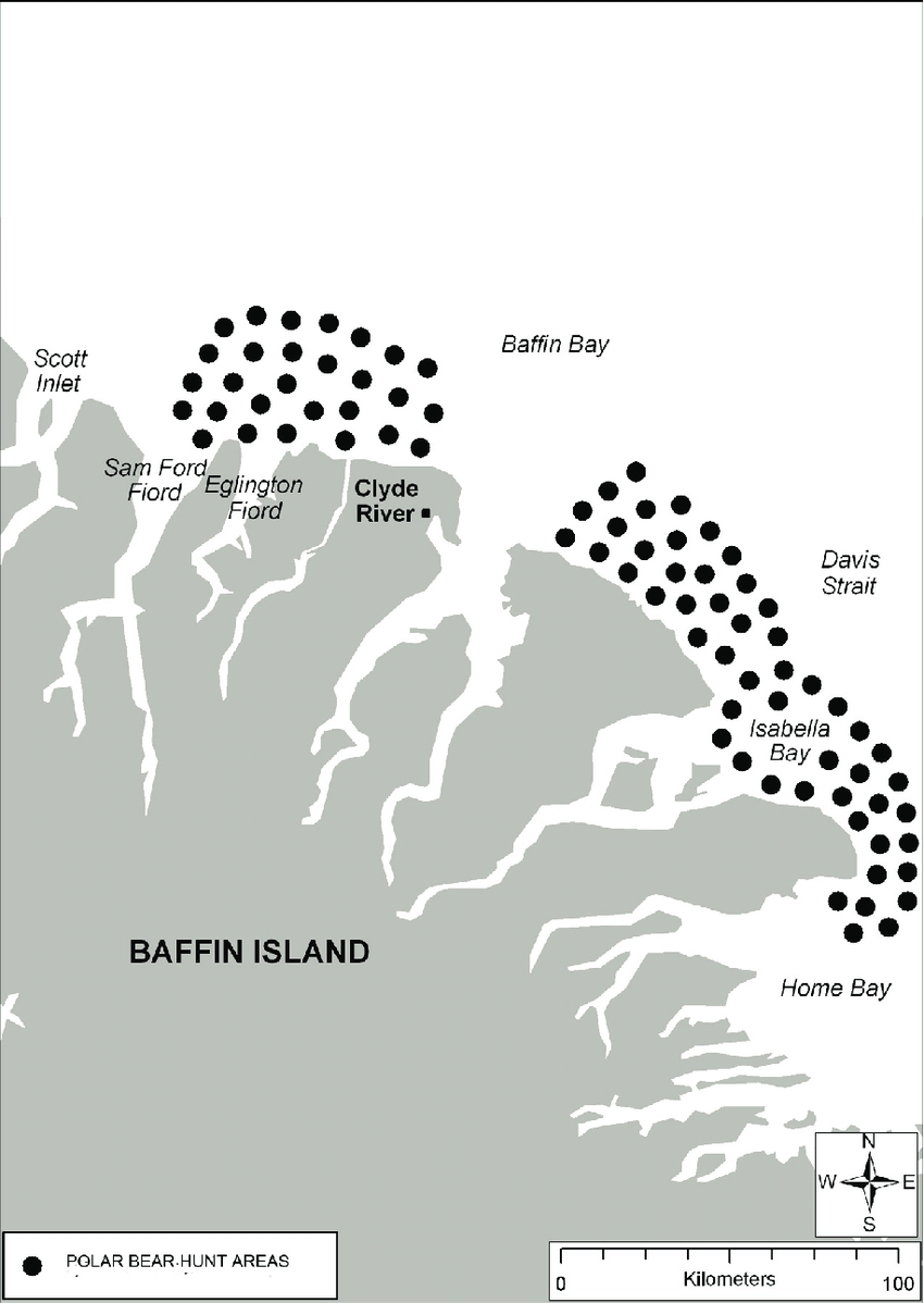 medium resolution of polar bear hunting areas for clyde river residents and visitors