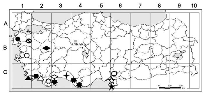 Distribution in the Mediterranean floristic region of