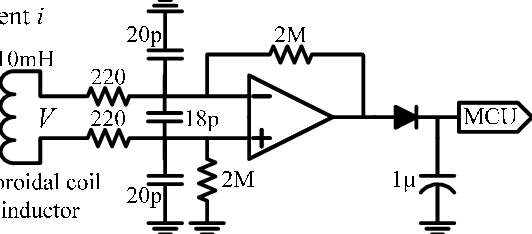Power detector circuit. V is a small sinusoidal voltage