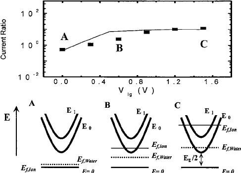 The ratio ͑  ͒ of measured drain current in aqueous