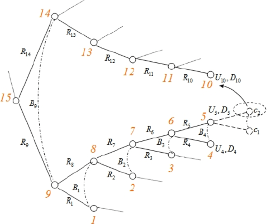 9 . Splitting a block (node 5 ). c 1 and c 2 are virtual