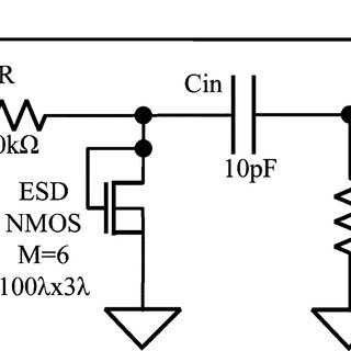 ESD protection circuits for the preamplifier input on the