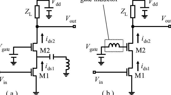 Schematic of (a) a conventional cascode amplifier with a