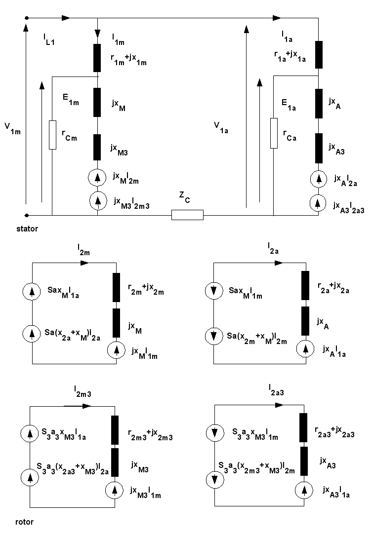 hight resolution of equivalent circuit of 1 phase induction motor with capacitor connection using the cross field