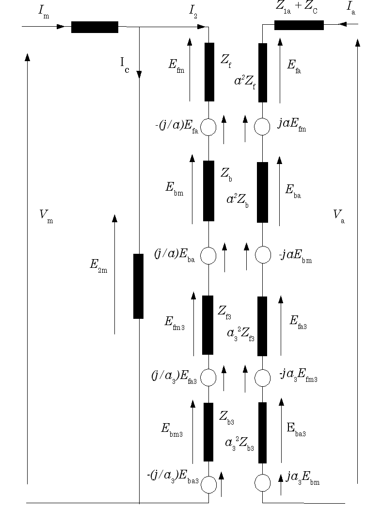 medium resolution of equivalent circuit of 1 phase induction motor with capacitor connection using the forward and backward