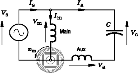 Circuit for analysis of LSPM motor with capacitor
