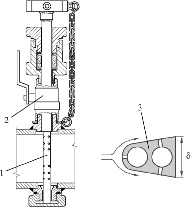 Structure of a flowmeter with the impact flow sensor: 1