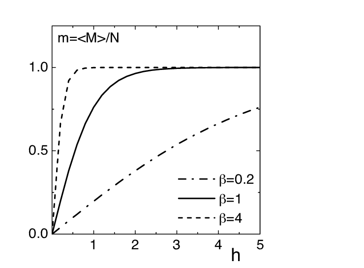 6. Average magnetization per spin, for the Ising