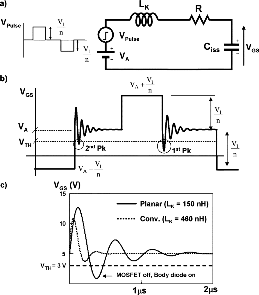 hight resolution of  a equivalent circuit of the sr gate driver b gate voltage waveform