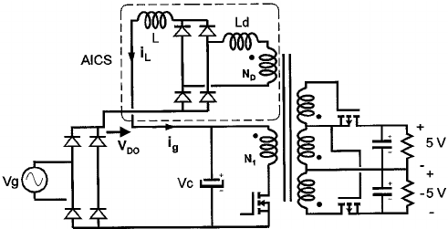 Scheme of a flyback AICS converter (AICS based on a full